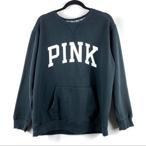 VICTORIA'S SECRET PINK Black Crewneck Sweater